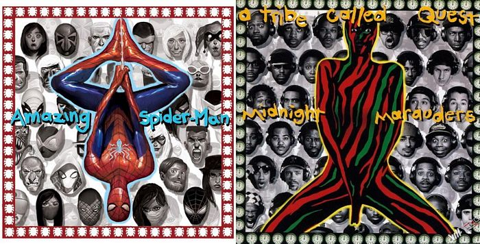 "Amazing Spider-Man #1 artwork by Mike Del Mundo, tribute to A Tribe Called Quest's ""Midnight Marauders"""