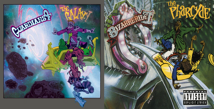 """Guardians Of The Galaxy #1 variant cover by Shawn Crystal, tribute to The Pharcyde's """"Bizarre Ride II"""""""
