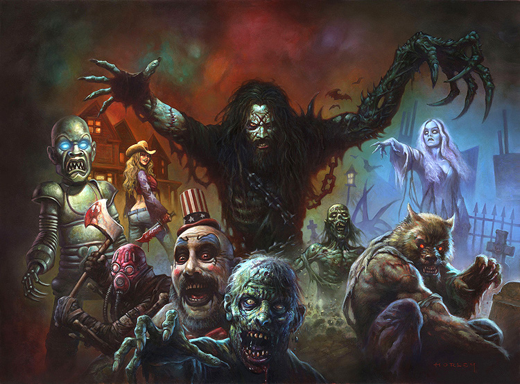 "Alex Horley, ""Zombie Pinball Back Glass,"" Acrylic on board"
