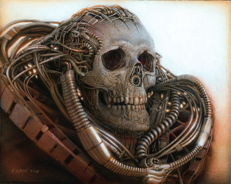 "Peter Gric, ""The Time Traveler,"" Acrylic on fiberboard 7.87"" x 9.84"""