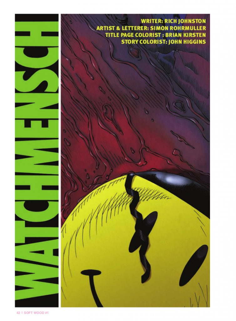 """Watchmensch"" by Rich Johnston, Simon Rohrmuller, John Higgins, And Brian Kirsten"