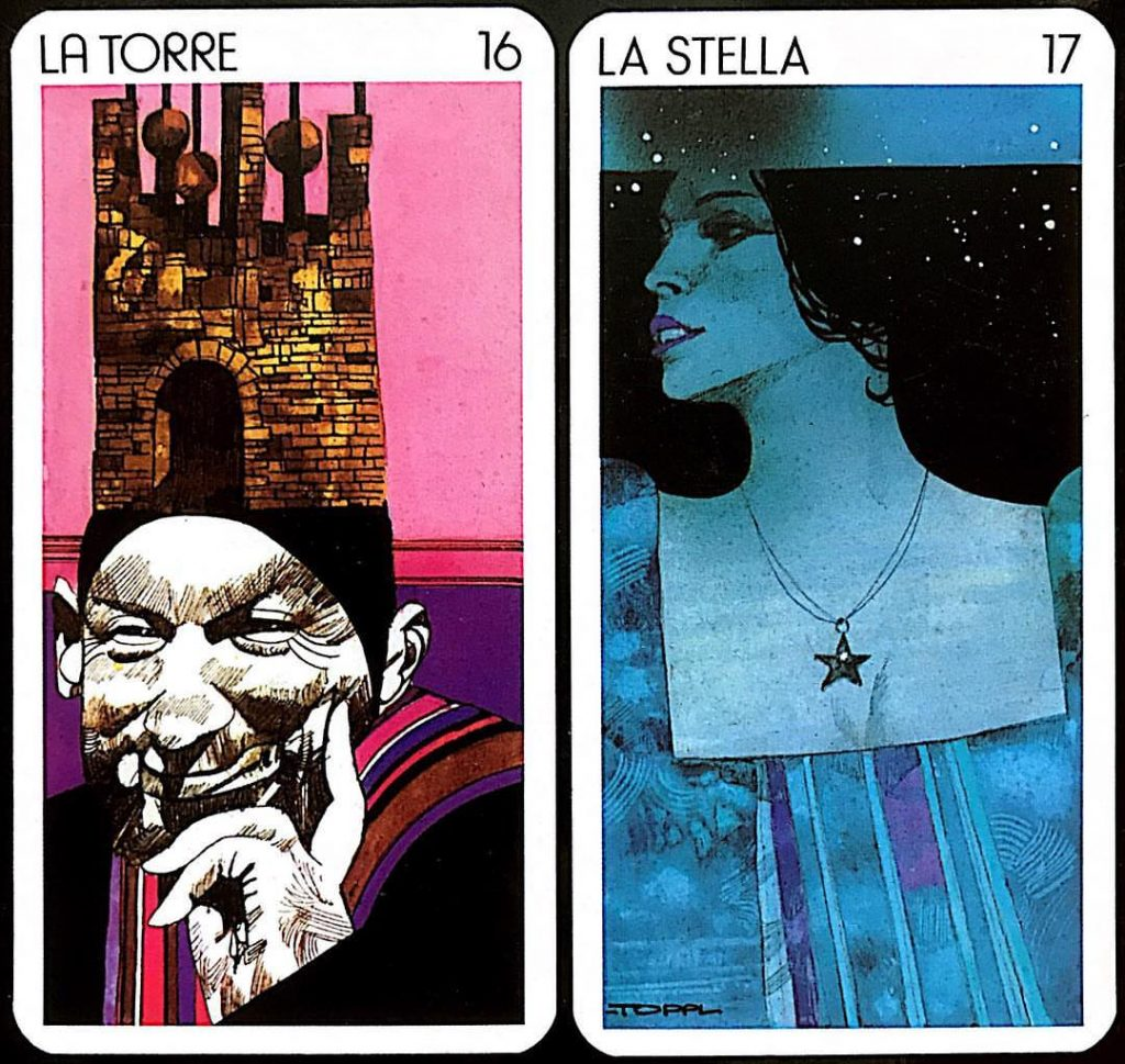 From Sergio Toppi's 'Tarot of the Origins:' 16, The Tower and 17, The Star