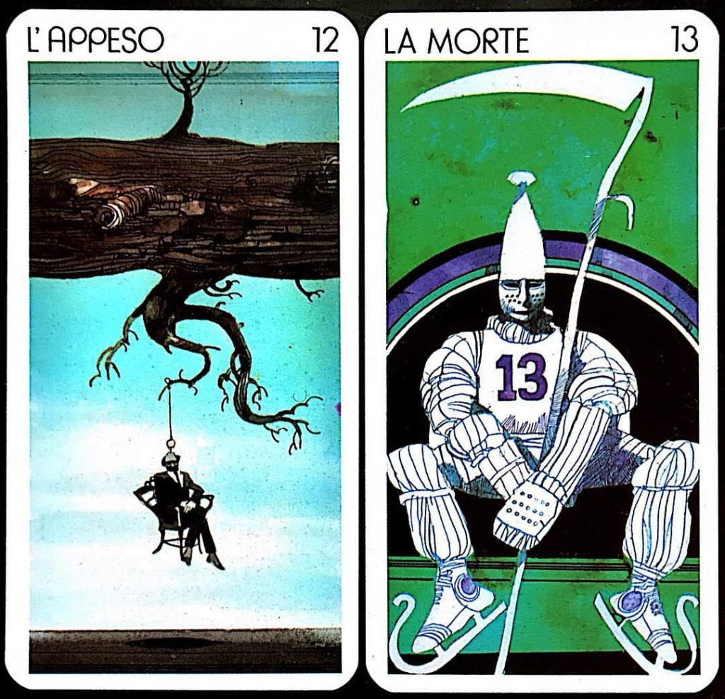 From Sergio Toppi's 'Universal Tarot:' 12, The Hanged Man and 13, Death